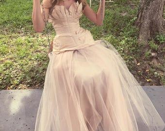 Vintage Wedding Dress 1950s silk blush pink DREAM DRESS with full tulle skirt