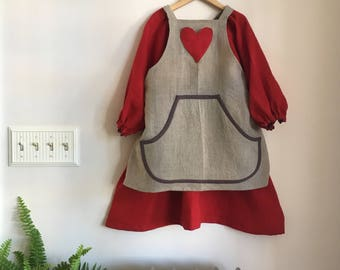 Valentine pinafore apron in linen 3-6