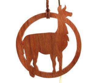 "Wooden Llama Ornament, Alpaca Ornament, 3.25"" Diameter, Farm Animal Christmas Decoration, Nature Decoration, South American Animal, Cherry"