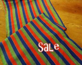 Guatemalan Fabric in Orange, Teal and Green Acrylic - on Sale