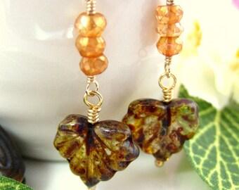Brown and orange resin leaf dangle earrings, Pocahantas leaf fall foliage earrings