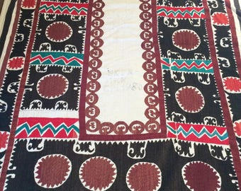Suzani embroidered blanket, twin bedspread, textile, tablecloth