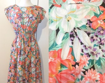 Neon floral dress, swing dress 70s does 50s style, Japanese vintage Xs S