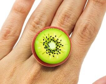 SALE Kiwi Resin Adjustable Statement Ring