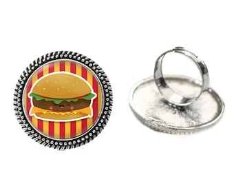 Kawaii Hamburger with Red and Yellow Stripes Glass 25mm Cabochon Silver Double Rope Adjustable Ring
