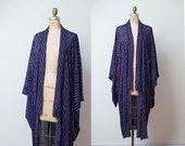 Vintage Kimono / Purple Abstract Print Japanese Kimono Robe