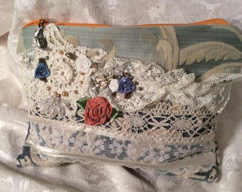 Large Fabric Wallet, handmade thick textured upholstery grade fabrics, lace beads embellished, blues, S4