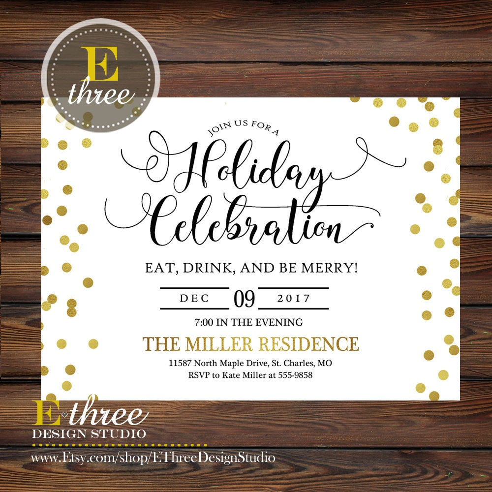 Gold and Black Christmas Party Invitations Gold Confetti