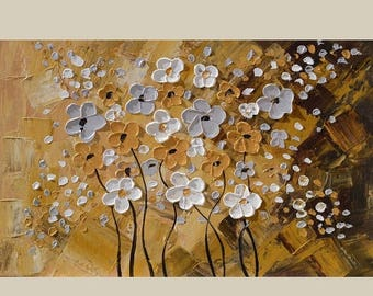 70% off ORIGINAL Oil Painting Hightland Meadow 23 x 36 Palette Knife Colorful Flowers Textured Romantic Brown Abstract Modern White ART by M