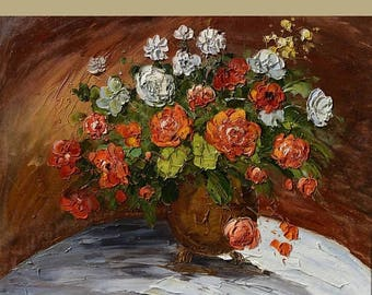 70% off Roses 23 x 30 Original Oil Painting Palette Knife ColorfulFlowers Vase Bouquet Textured  by Marchella