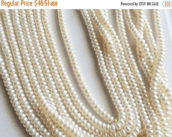 ON SALE 55% Pearls - Ivory Color Pearls, Natural Fresh Water Corn Pearls, Natural Pearls, Ivory Pearls, 4mm, 16 Inch Strand, Wholesale Price