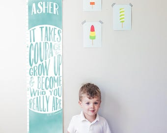 "Custom/ Personalized Blue ""It takes courage to grow up"" growth chart - Perfect for baby boy nursery or gender neutral room"