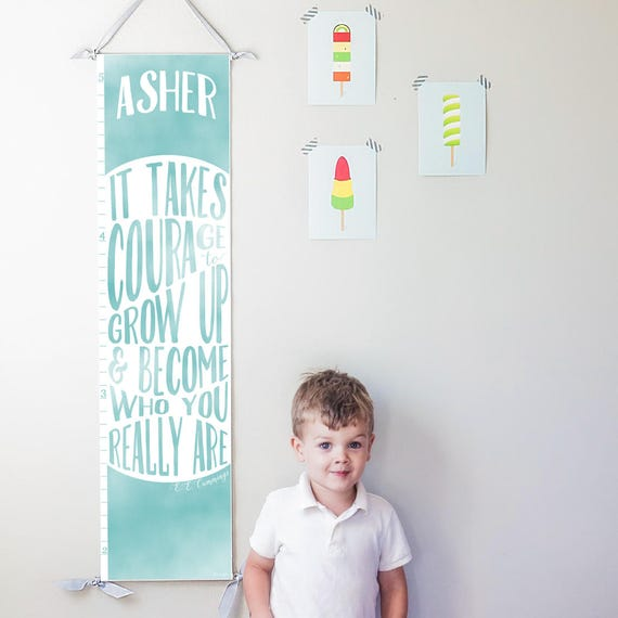 "Personalized Blue ""It takes courage to grow up"" growth chart"