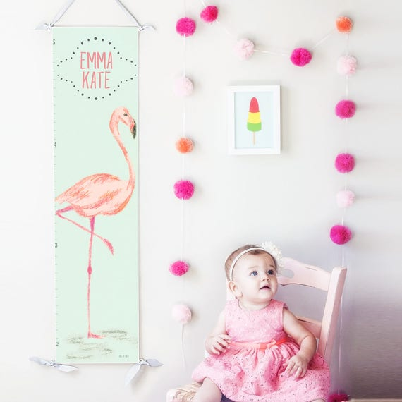 Personalized Mint and Pink Flamingo canvas growth chart