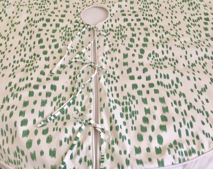 Christmas Tree Skirt Brunschwig and Fils Les Touches  in Green Animal Print Designer Fabric