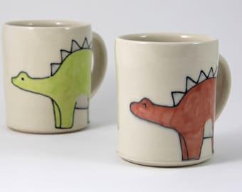Dinosaur Coffee Mug Handmade Ceramic Mug Stegosaurus Illustration Dino Mug Cute Pottery Teacup Large Mug Animal Themed Pottery Cute Gifts
