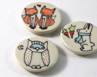 Owl Magnet Handmade Ceramic Refrigerator Magnet Owl and Moon Illustration with Woodland Animal Cute Pottery Magnets Small Gifts Under 10