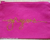 Gorgeous Pink & Gold Planner Bag Makeup Bag Purse Zipper Bag
