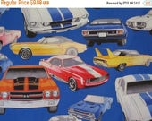 ON SALE Colorful Muscle Car Print on Royal Blue Pure Cotton Fabric--By the Yard