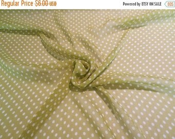 ON SALE SPECIAL--Avocado Green and White Pure Silk Crinkle Chiffon Fabric--One Yard