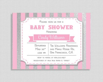 Pink and Silver Baby Shower Invitation, Pink Stripe Baby Shower Invite, DIY PRINTABLE