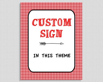Custom Made Printable Sign, Red BBQ Baby Shower Table Sign, Party Decorations, Barbecue, Gender Neutral, DIY Printable