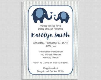 Navy Elephant Baby Shower Invitation, Printable Navy & Grey Shower Invite, Baby Boy, Chevron, DIY PRINTABLE