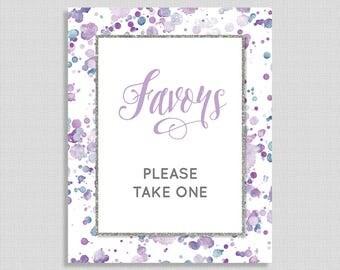 Lavender Favor Shower Table Sign, Lavender Splash Baby Shower Favor Sign, Purple, Gender Neutral, INSTANT PRINTABLE