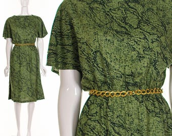 Green Dress Vintage Cotton Shift Dress Olive Green Snakeskin Print Knee Length Dress Flutter Sleeves Angel Sleeves Simple Classic Dress