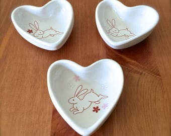 Gift for Rabbit Lover-One of a kind Porcelain Traditional Japanese Rabbit Pattern Small Heart Bowl, Rabbit Design jewelry dish, Candy dish
