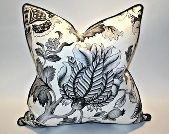 20x20 Jacobean Pillow Covers in Gray Black and White Piped in Black Linen