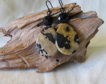 black and brown jasper stone dangles