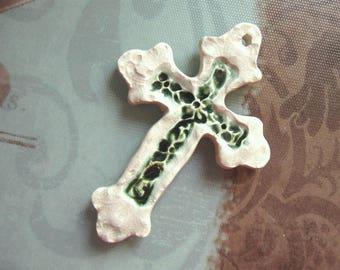 Cream And Green Ceramic Cross Pendant