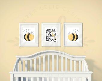 Boys or Girls Nursery Set | Bumble Bee | Alphabet Love | Set of 3 | Nursery Art | Wall Art | Nursery Decor | 5x7 | 8x10 | 11x14 (GL000008)