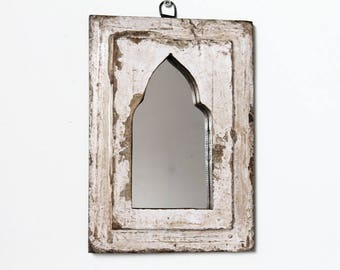 Small Moroccan Mirror Vintage Wood Framed Mirror Reclaimed Wood Wall Art Distressed White