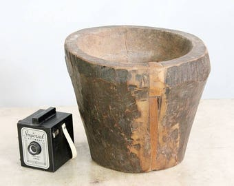 Tall Vintage Mortar Old Wood Bowl Reclaimed Indian Grinder Dining Table Centerpiece Boho Decor Farm Chic Accent Photo Prop