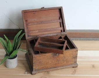 Vintage Wood Merchant Chest Keepsake Box Jewelry Box  Moroccan Turkish