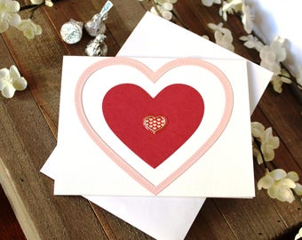 Handmade Valentine's Day Card, Pink and Red Hearts, Unique, One of a Kind, Free US Shipping