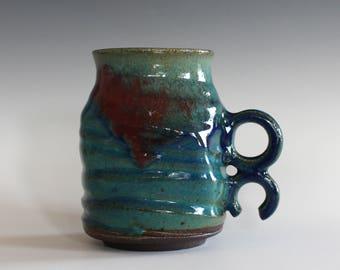 OC Pottery Mug, 15 oz, unique coffee mug, handmade ceramic cup, handthrown mug, stoneware mug, pottery mug, ceramics and pottery
