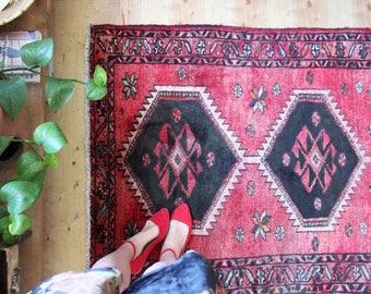 vintage Persian rug, colorful pink geometric rug, happy bohemian wool rug