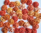 40 Assorted Orange Prints 1 inch Fabric Miniature Yo Yos Applique Quilt Pieces Scrapbooking Embellishments