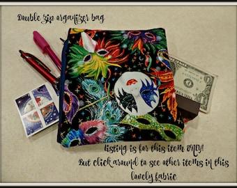 Mardi Gras organizer bag, Fat Tuesday pouch, Two pocket purse organizer, two pocket pouch, two pocket cosmetic bag, two pocket coin purse