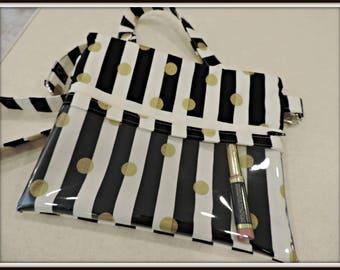 clear pocket bag, catalogue crossbody bag, black white stripe bag, lipsense rep bag, direct sales purse, catalogue display purse