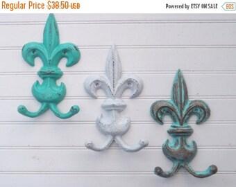 ON SALE Decorative Hook / Cast Iron Hook / Fleur De Lis Hook / Fleur De Lis Decor /Set of 3