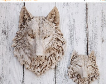 ON SALE Antique Style Wolf Head~Wolf Wall Decor~Boho~Native American Decor~Wolf Wall Sculpture~Faux Animal Head