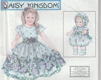 "Dress Pattern Girl and 13"" Doll Dress Daisy Kingdom Girls Size 5 - 6 - 7 - 8  uncut Simplicity 9096"