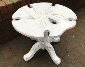 Sand Dollar Side ONE Table Night Table Shabby Chic Beach House Style Decor by CastawaysHall - Ready to Ship