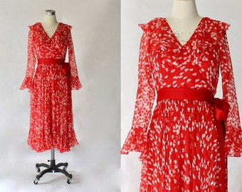 Adele Simpson Printed Silk Chiffon Midi Dress // 1970s Vintage Designer Novelty Print Ruffled Dress // Small