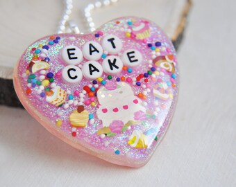 Resin Necklace, Resin Heart Necklace, Heart Necklace, Pink Heart Necklace, Pink Necklace, Cake Necklace, Food Necklace, Birthday Gift, Holo