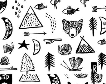 Black & White Baby Bedding, Woodland Blanket, Minky Blanket, Crib Sheet, Changing Pad Cover, Personalized Blanket, Adventure Nursery